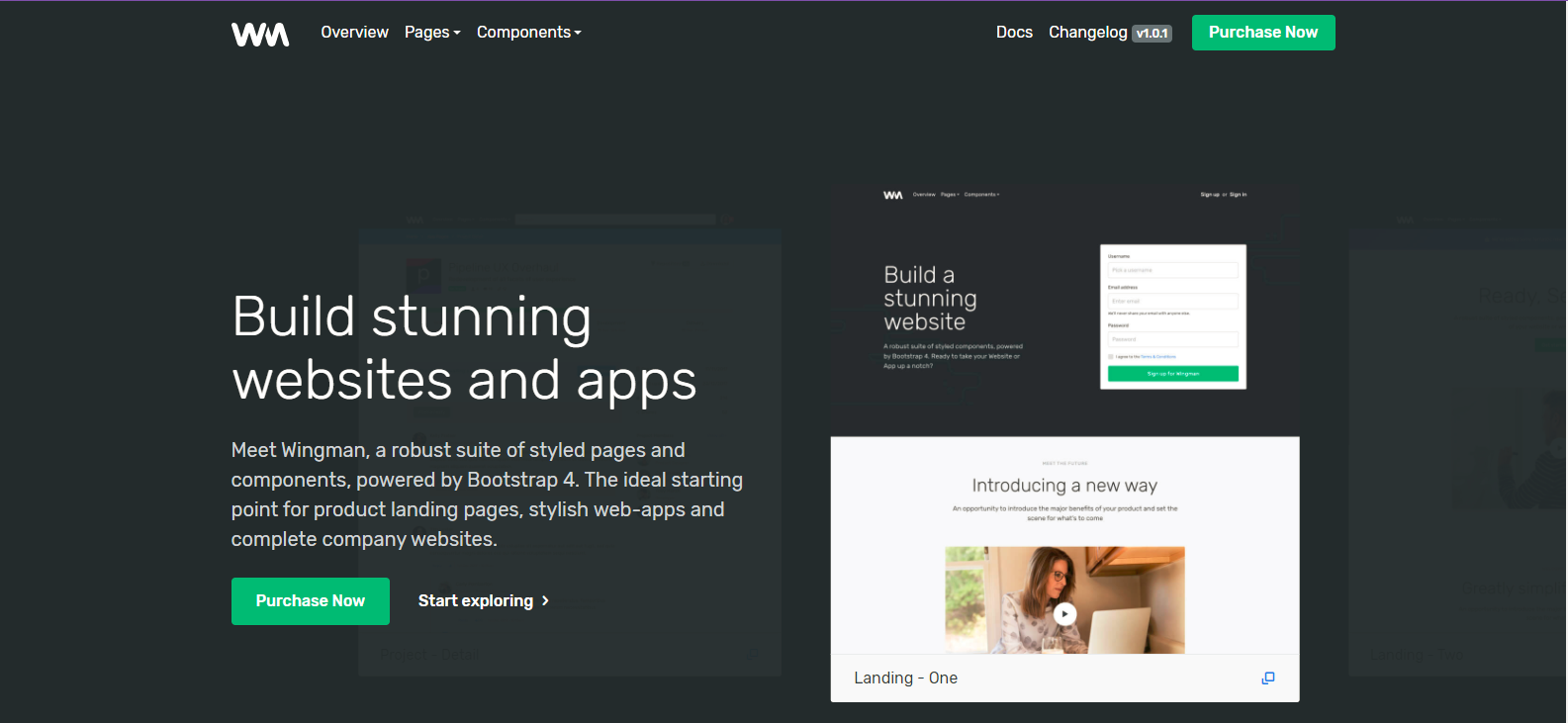Wingman Landing Page & App Template