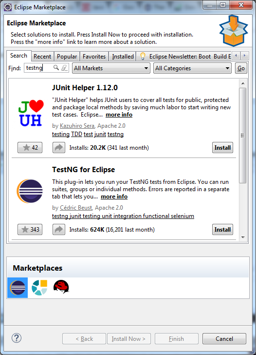 TestNG for Eclipse Marketplace