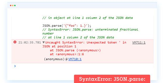 SyntaxError: JSON parse: bad parsing | LambdaTest