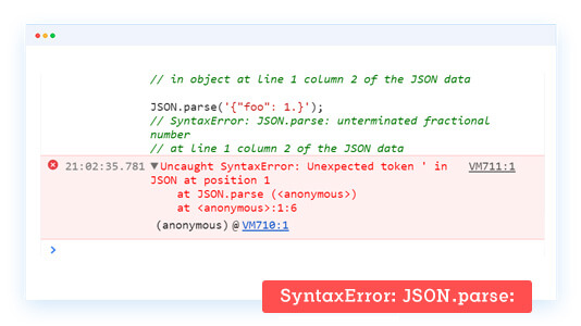 SyntaxError: JSON.parse: bad parsing