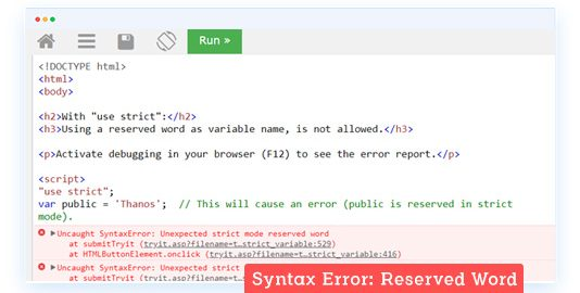 SyntaxError : Reserved Word