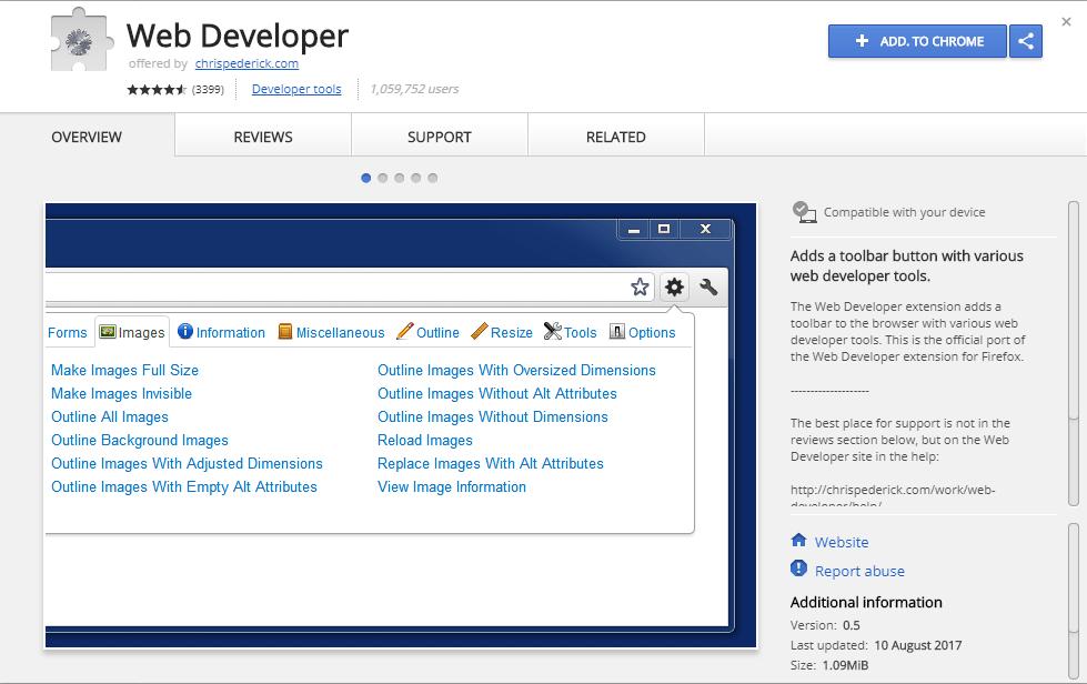 Web Developer Extension