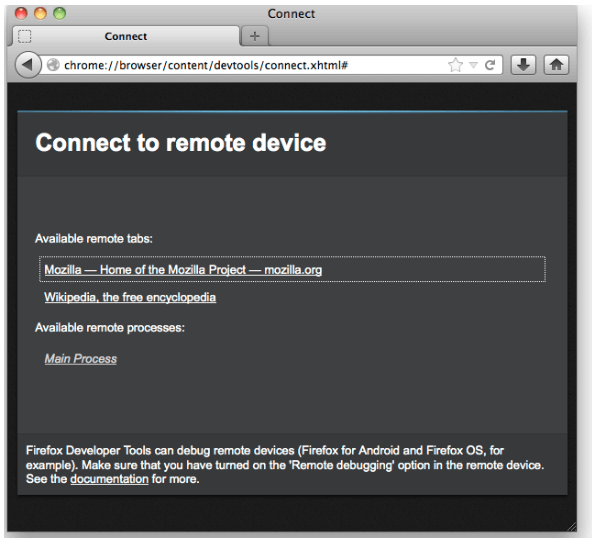 Connect to remote device