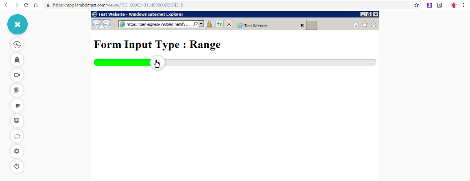 "Range""  is fixed for Internet Explorer 9 by using range slider.js"