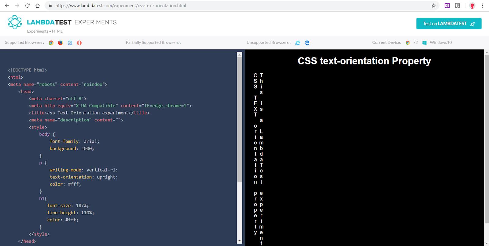 Lambdatest Experiments - CSS vertical text-orientation