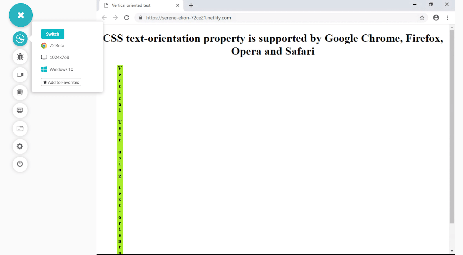 CSS text-orientation property supported by Google Chrome