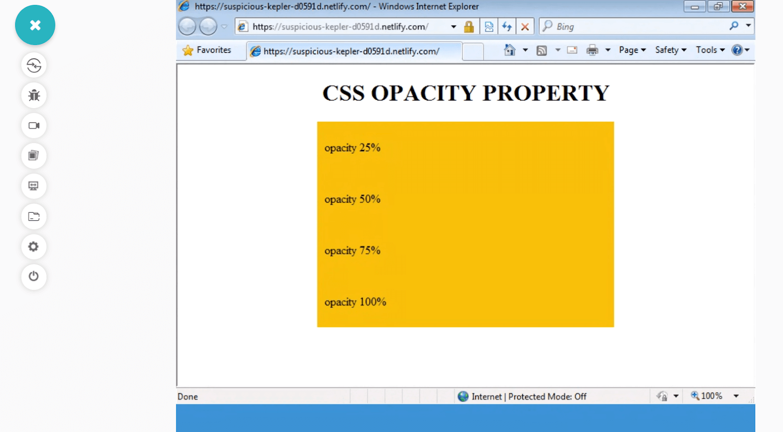 CSS Opacity Background Color