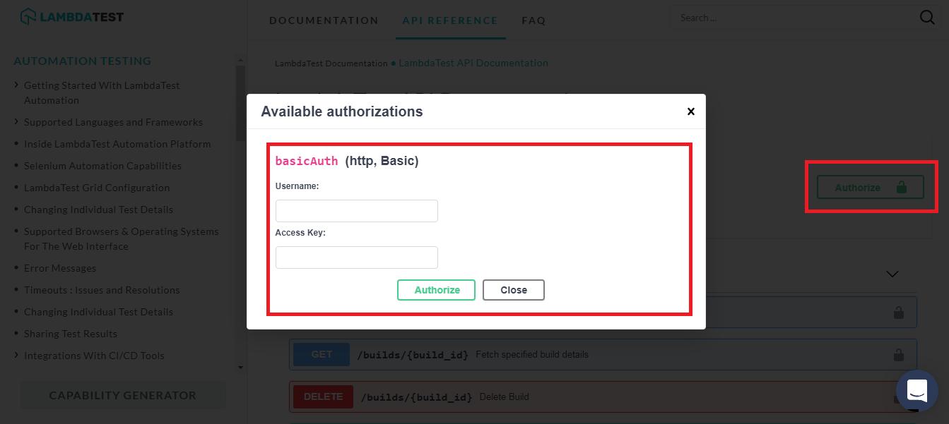 LambdaTest API reference