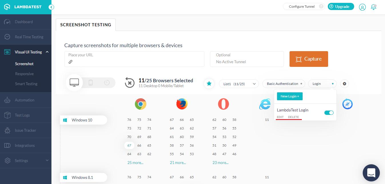 Screenshot Testing Dashboard