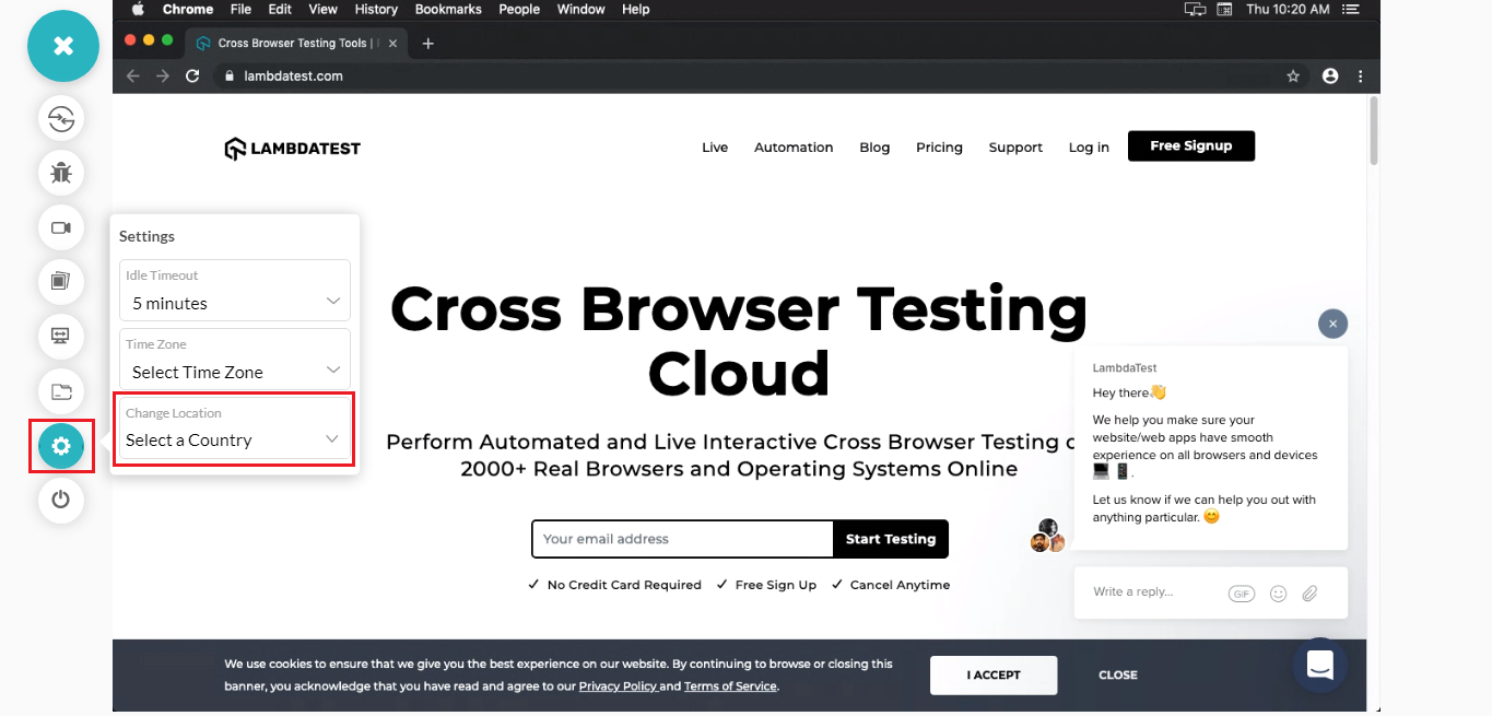 Geolocation Based Cross Browser Testing