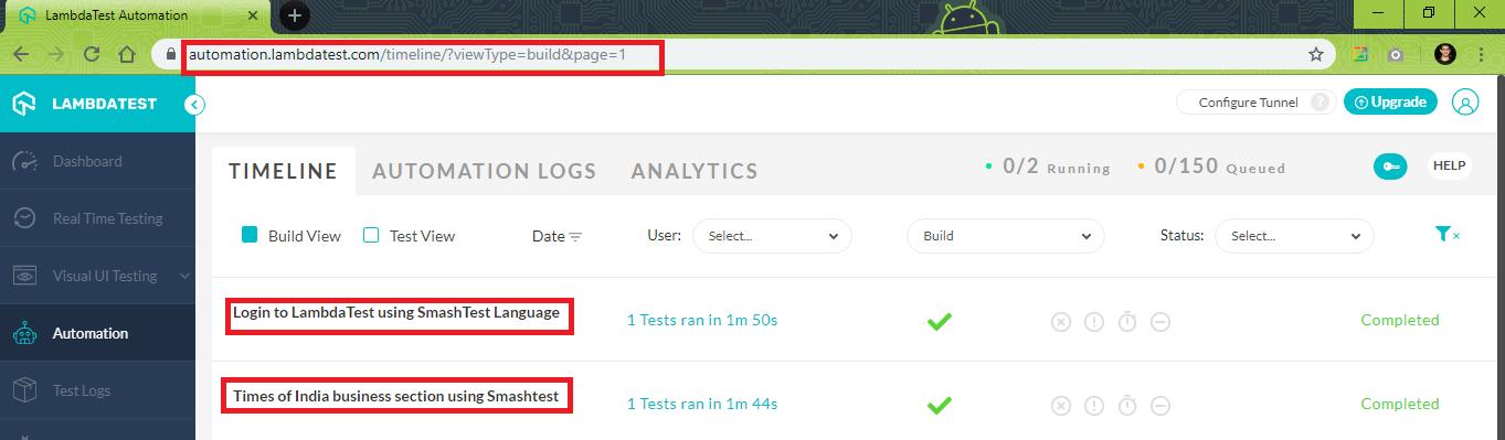 automation tab on LambdaTest.