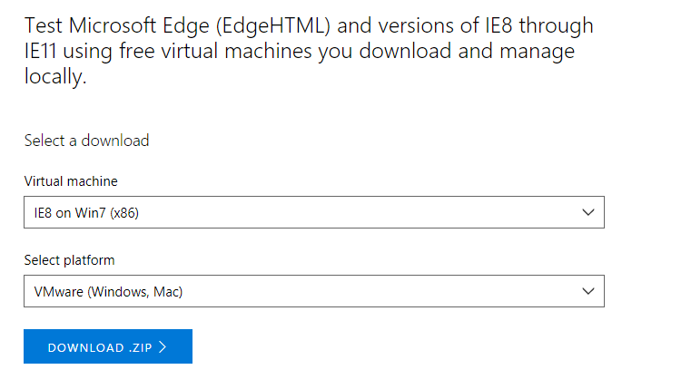 Virtual Machine Setup in IE for mac