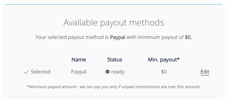payout method