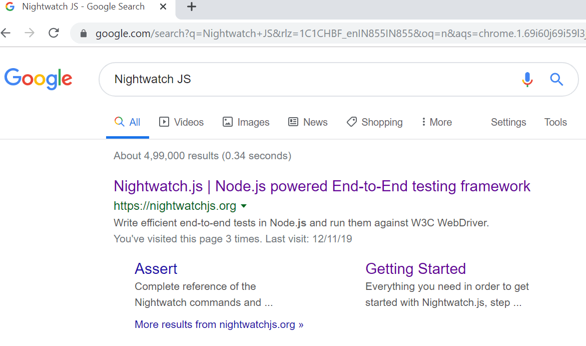 nightwatch js testing