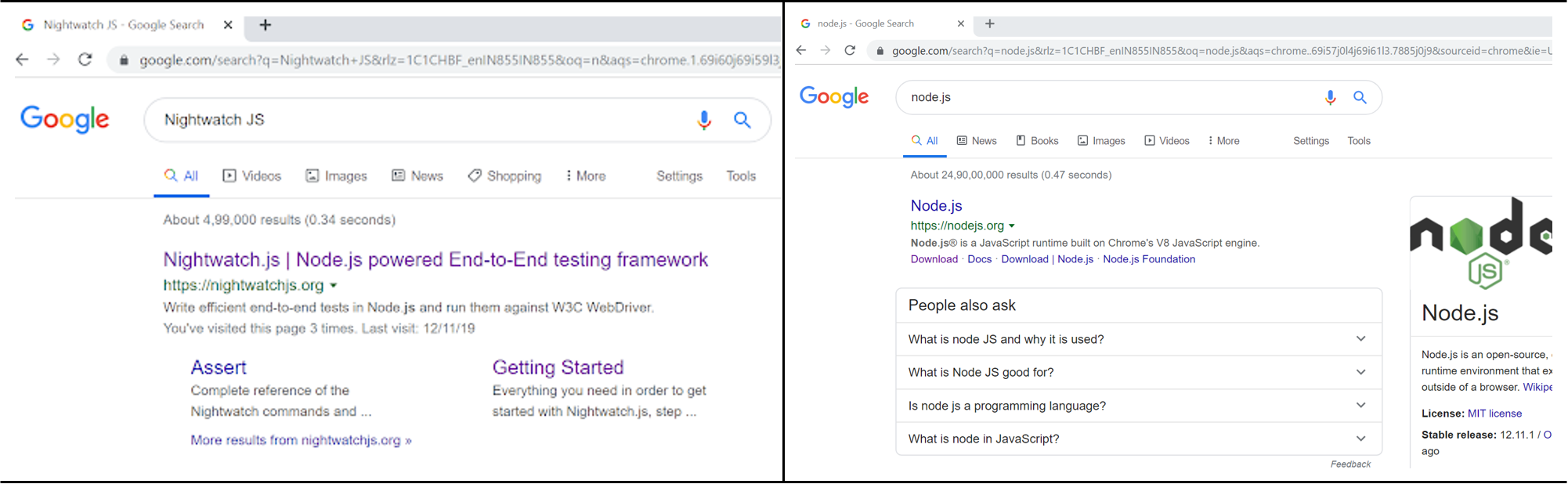 nightwatch js testing vs nodejs