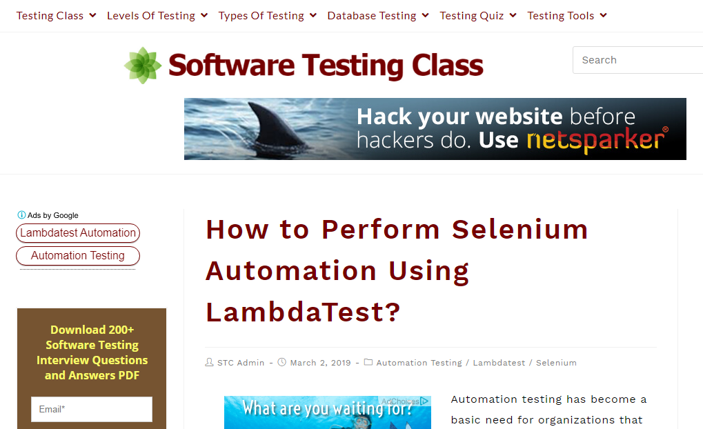 software testing class
