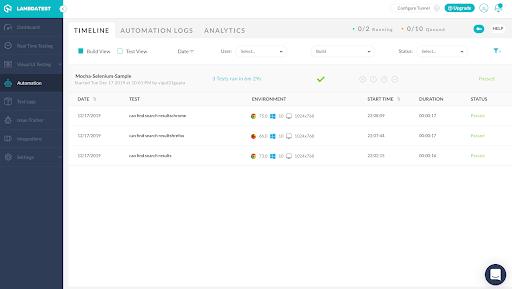 Automation Testing Dashboard