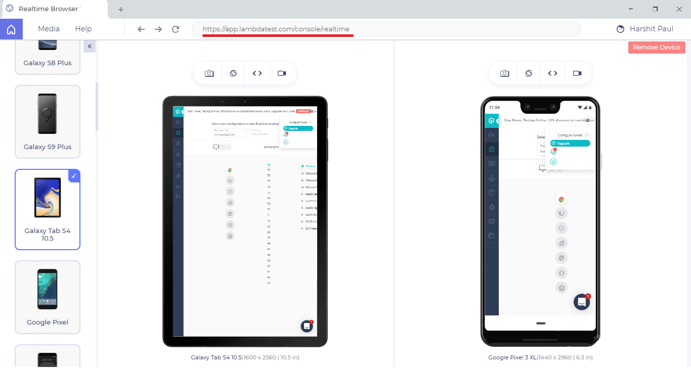 Compare Website on different devices