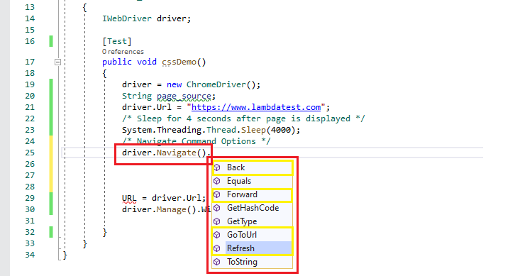 Selenium Webdriver commands