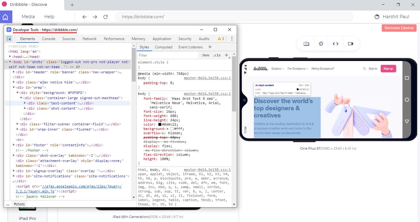 developer tool in LT browser