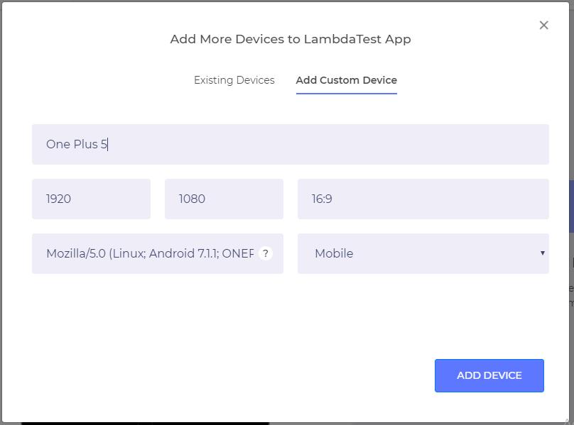 responsive testing on custom devices