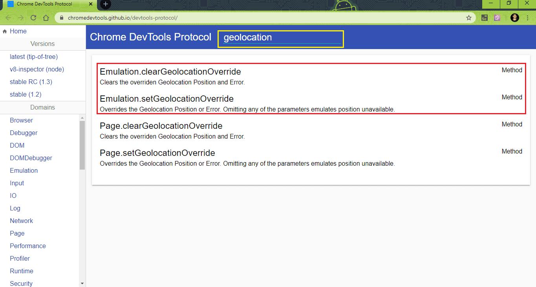 DevTools Protocol website