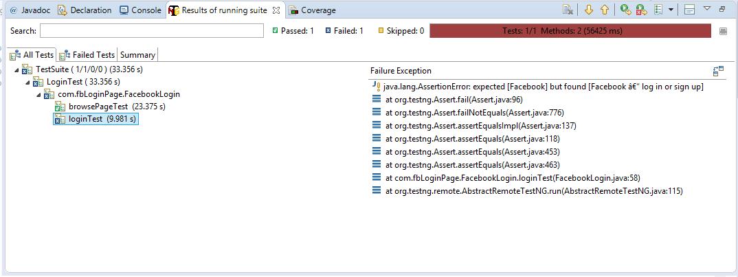 Login Test Console output