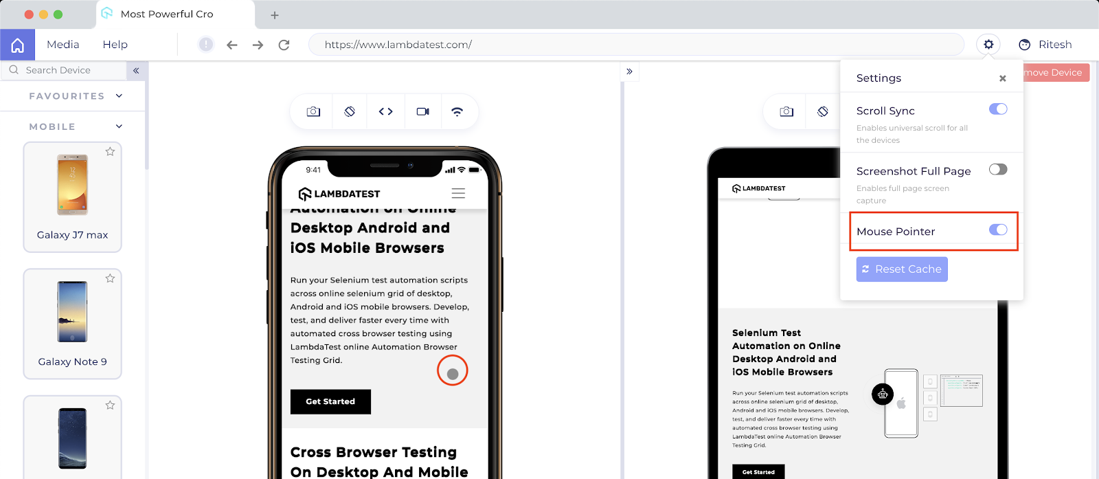 LT Browser Scrolling