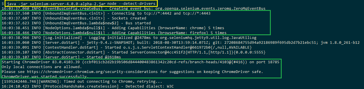 instance of Chrome WebDriver is instantiated