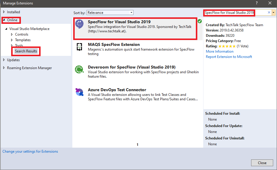 specFlow for Visual Studio 2019