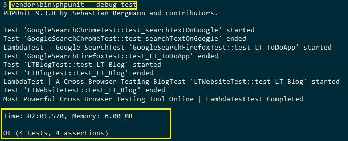 phpunit debug tests