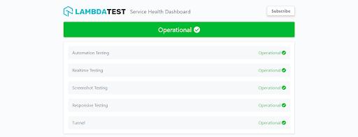 LambdaTest Status Page