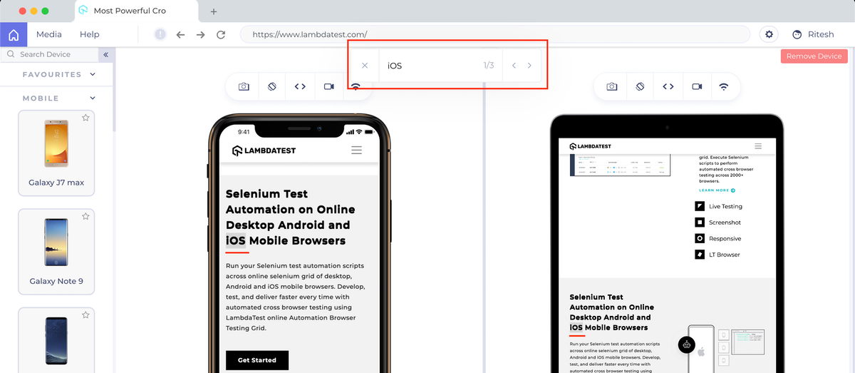 in-page text within LT Browser