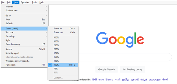 Browser Zoom Level