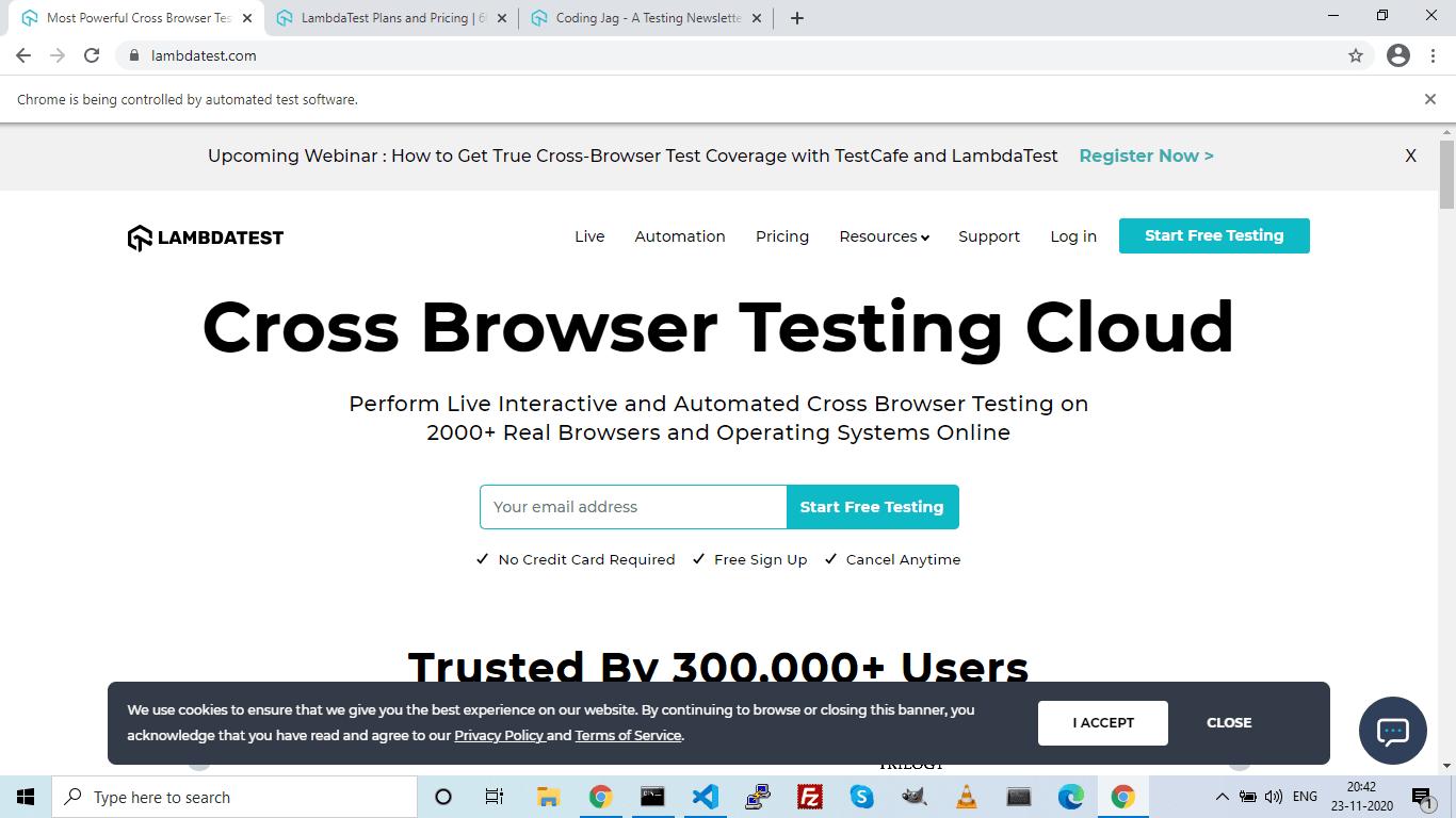 LamdaTest homepage