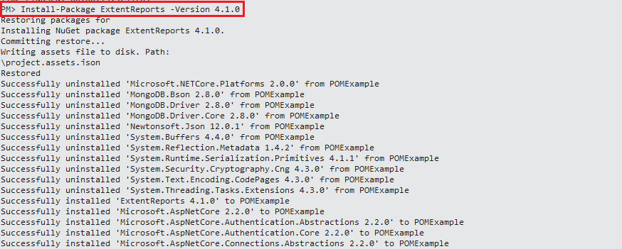 PM console ExtentReports