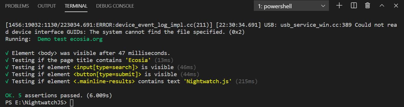 test run results in terminal