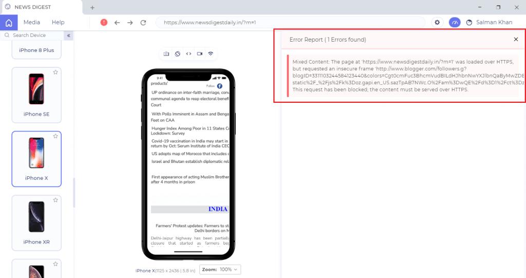 JavaScript Error Reports