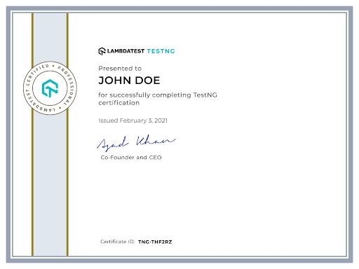 LambdaTest certification in TestNG