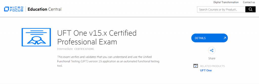 UFT v15.x Certification