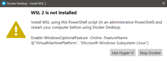 WSL 2 is not installed