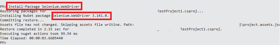 Install Package Selenium Webdriver