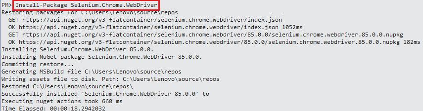 Install Package Selenium Chromedriver