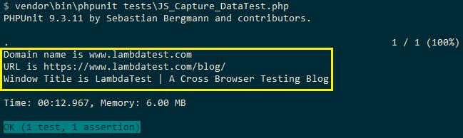 test execution snapshot