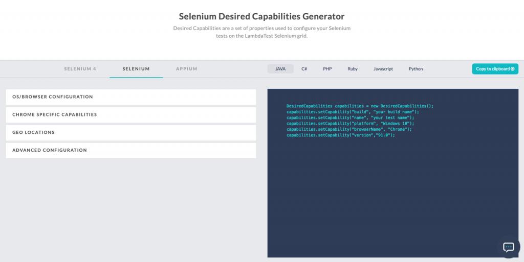 The capabilities generator
