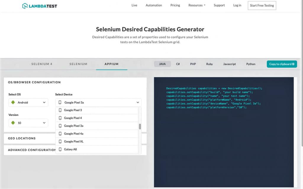 desired capabilities generator