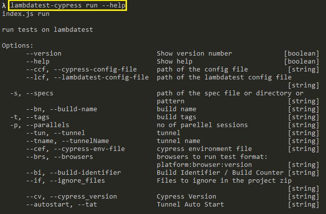 LambdaTest Cypress CLI Commands