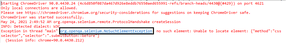 NoSuchElementException