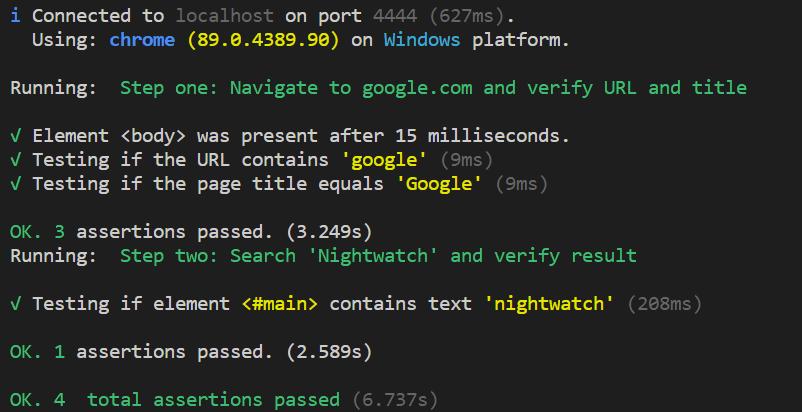 nightwatch test execution status