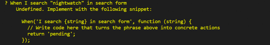 write step definitions